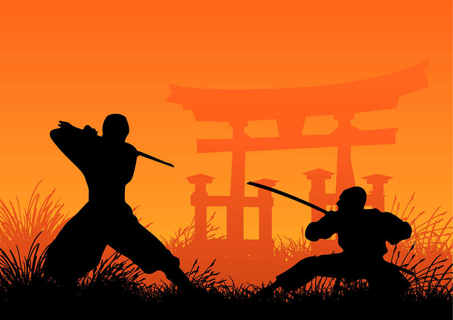 vector illustration of traditional japanese ninjas fighting